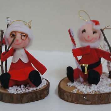 Wood Santa & Mrs Claus Christmas Ornament Felt Accents