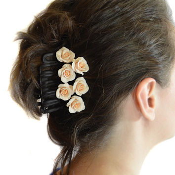 Bridal hair pins roses Polymer clay jewelry Set of 6 Wedding hair pins Light peach hair pins Rose hair pins Floral hair pins