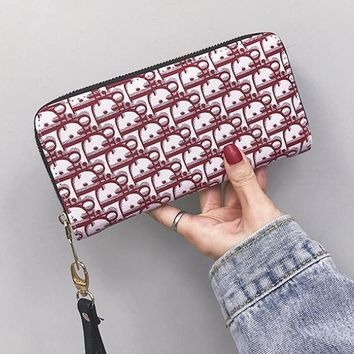 DIOR Women Fashion New More Letter Leather Wallet Purse Red