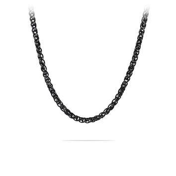 "20""- 36""Mens Black Stainless Steel Braided Wheat Chain Necklace"