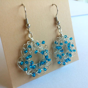 FREE SHIPPING Wire crochet earrings with glass beads: Blue ocean