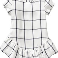 Old Navy Windowpane Plaid Dresses For Baby