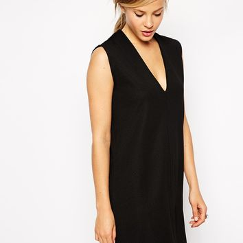 ASOS Shift Dress in Texture with V Neck
