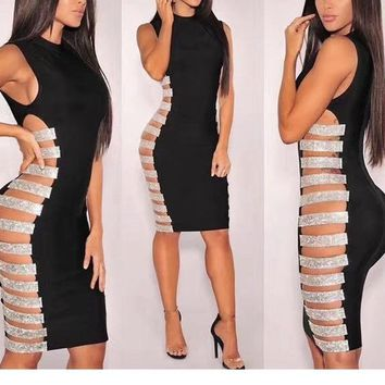 """Elevate"" side cutout glitter accent bandage dress"