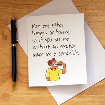 Dirty Card For Girlfriend, Card For Wife, Funny Adult Card, Hungry Or Horny, Quirky Note Card, Naughty Card, Fix A Sandwich, Erection