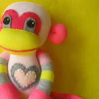 Plink - Pink & Yellow with Stripes - Handmade Best Friend Sock Monkey Plush Doll