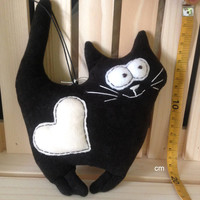 Plush Cat toy,stuffed black cat,heart,soft toy kitten, handmade toys,soft toy,high quality,children gift,home decor,toys animals,cat lover