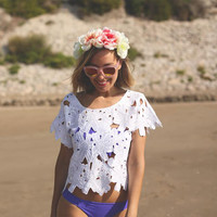 White Floral Cutout Top
