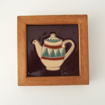 Ceramic Tile Ready To Hang Wall Art Tile in Wood Frame Teapot Kitchen Home Decor Unique Handmade Artisan Gift for Housewarming