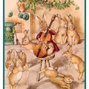 Bunny Rabbits Music For Christmas inspired by Beatrix Potter Counted Cross Stitch or Counted Needlepoint Pattern