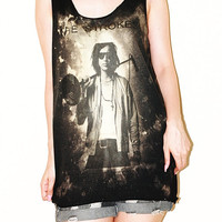 Julian Casablancas The Strokes Bleached Black Tie Dye Women Top Clothing Tunic  Rock Tee Tank Top Singlet Sleeveless Punk T-Shirt Size M