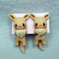 Eevee Pokemon Handmade Clinging  Earrings