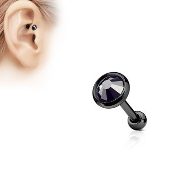 Black C.Z. Ion Plated Tragus Barbell 16G (1.2mm)