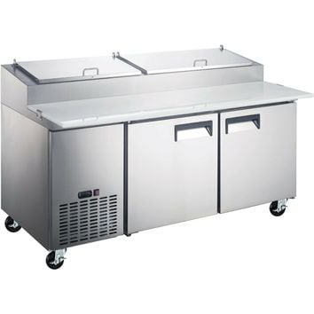 """Commercial Kitchen 2 Door Refrigerated Pizza Prep Table 71"""""""