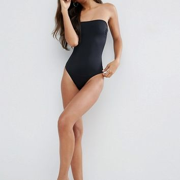ASOS TALL Clean Bandeau Swimsuit at asos.com