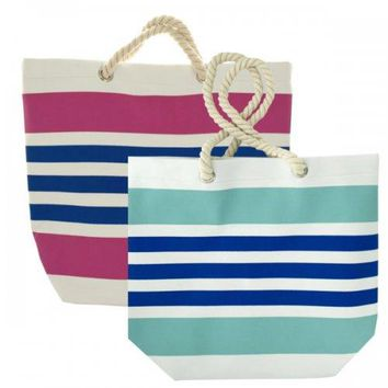 Striped Tote Bag With Rope Handles
