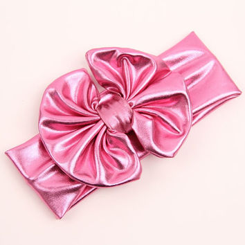 Pink Big Bow Headband, Pink Knot Headband, Pink Headband, Infant Pink Headband, Toddler Pink Headband Shiny Headband Birthday Prop