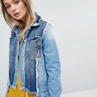 River Island Patchwork denim Jacket at asos.com