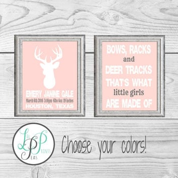 Pink Hunting Nursery, HuntingTheme Nursery, Baby Girl Gift,  Hunting Nursery Wall Art, Deer Baby Keepsake, Baby Deer Art, Hunter Gift