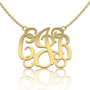 Monogram Necklace, Personalized jewelry Gold 14K Fill 1.0 - inch Gold Monogram Custom Made Initials gift for her
