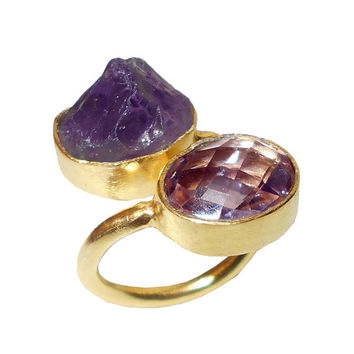 Bypass Ring, Amethyst Ring, Raw Gemstone Ring, Stacking Ring, Gold Ring, Handmade Ring, Purple Stone Ring, Bezel Set Ring, Designer Ring