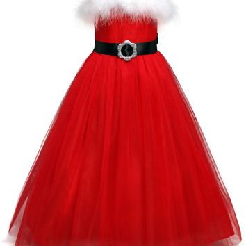 Santa Christmas Dress Red Tulle Holiday Party Festive