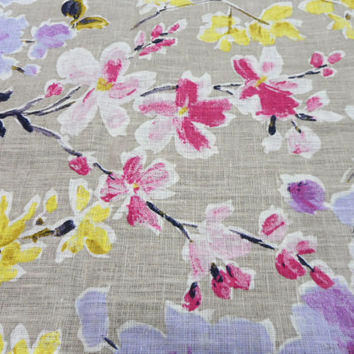 """Natural Linen valance 56"""" x 24"""".  Window valance rustic style. Cafe style curtain vibrant floral print"""