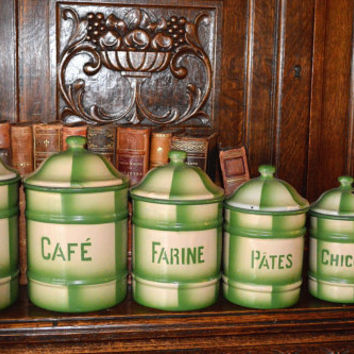 Vintage Set of 6 French Kitchen Canisters in Green & Ivory Plaid Check Enamel Rare Find