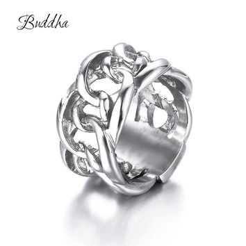 316L Stainless Steel Handmade Unisex Charms Biker Ring Punk European Style Men Chain Buddha Rings Female Jewelry Free Shipping
