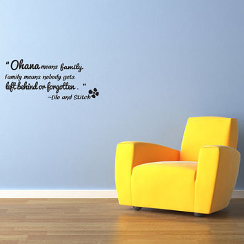 Ohana means family Vinyl Decal Quotes Wall Sticker Wall Art Wall Decals Wall Quote (J18)