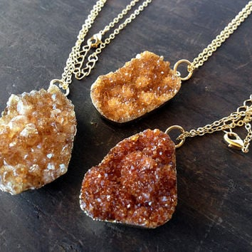 Raw Citrine Gold Necklace - November Birthstone gemstone crystal jewelry
