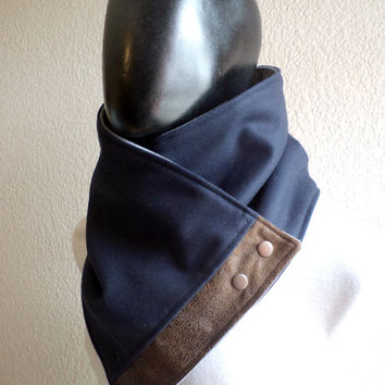 Men scarf. Men cowl,Wide, Navy blue wool with faux suede and metalic snaps . Trendy, modern, chunky and cozy.