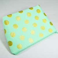 Mint green and gold polka-dot cosmetic case, zipper pouch, clutch, pencil case, makeup bag