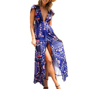 V Neck Wrap Floral Print Sexy Split Women Maxi Dresses Short Sleeve Casual Boho Beach Party Long Vestidos