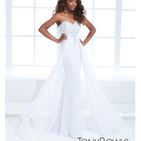 Tony Bowls 2014 Prom Dresses - White Beaded Strapless Chiffon Lace Prom Dress