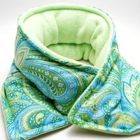 Microwave Heating Pad Hot Cold Therapy Pack Neck Wrap, turquoise, aqua green