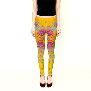 Wearable Art, exclusive design woman leggings, shaping flattering Abstract oriental morroccan indian golden pattern print design yoga pants