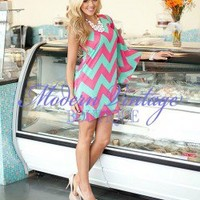 Bachlorette Dress Pink Chevron - Modern Vintage Boutique