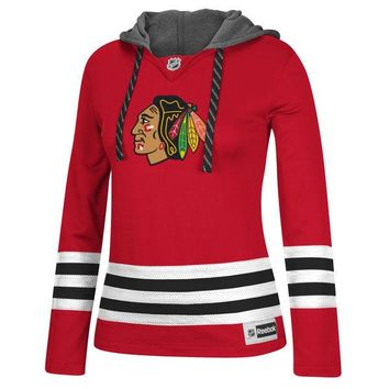Women's Reebok Red Chicago Blackhawks Red Jersey Pullover Hoodie