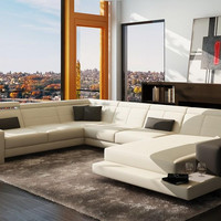 Divani Casa 6113B Modern White and Grey Bonded Leather Sectional Sofa