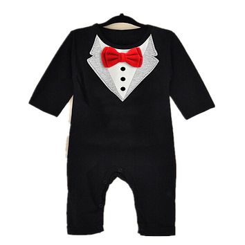 Newborn Infant Baby Boy Girl Cotton Romper Baby Long Sleeve Little Bow Tie Rompers New Kids Tracksuit