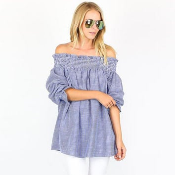 Blue Off the Shoulder Long Sleeve Loose Blouse