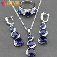 Pretty Blue Zircon 925 Sterling Silver Jewelry Sets Pendant Chain/Necklace/Earrings/ Ring For Women Free Jewelry Box