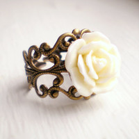 Ivory Rose Ring - Wedding Jewelry, Bridesmaid Ring, Bridal Party Gift, Adjustable Ring - Ivoire Collection