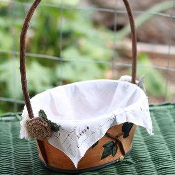 Rustic Flower Girl Basket with vintage lace handkerchief