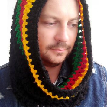 RASTA SCARF MENS Hand Crochet Scarf Soft Infinity Mens Braided Cable Boho Cowl Loop Crochet Slouchy Mens Scarf Slouch Beanie Hand Winter