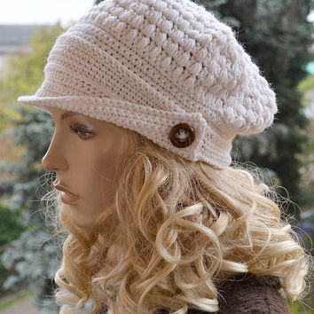 Crocheted  beanie Slouchy Hat  PEAKED CAP Winter Fashion , very warm, natural color , women slouchy hat,Girls Hat,unique gifts