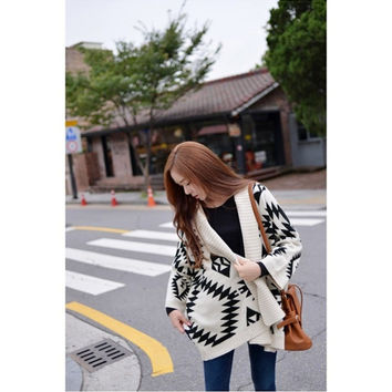 Aztec Knit Oversize Batwing Sweater Cardigan