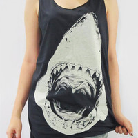 SHARK Head Animal Hot Chic Shirt Animal Tank Top Women Vest T-Shirt Animal Tunic Top Animal Singlet Animal Sleeveless Black T-Shirt Size L