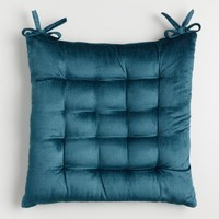Blue Velvet Chair Cushion